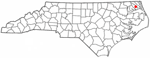 N C Map-doton- Elizabeth City