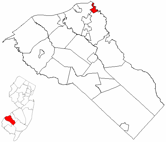 Map of Gloucester County highlighting Westville Borough