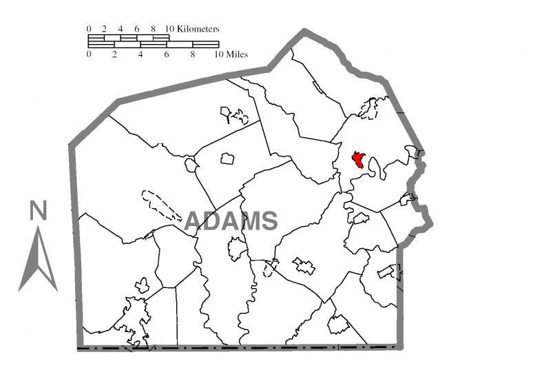 Map of Hampton, Adams County, Pennsylvania Highlighted