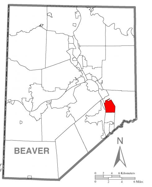 Map of Baden, Beaver County, Pennsylvania Highlighted