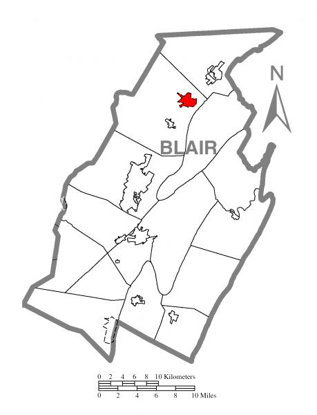 Map of Tipton, Blair County, Pennsylvania Highlighted