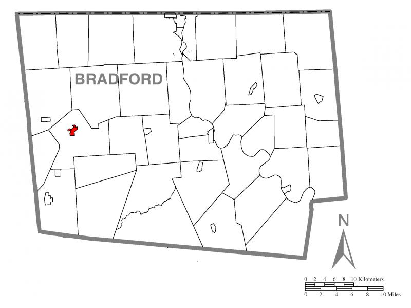 Map of Troy, Bradford County, Pennsylvania Highlighted