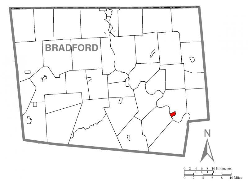 Map of Wyalusing, Bradford County, Pennsylvania Highlighted