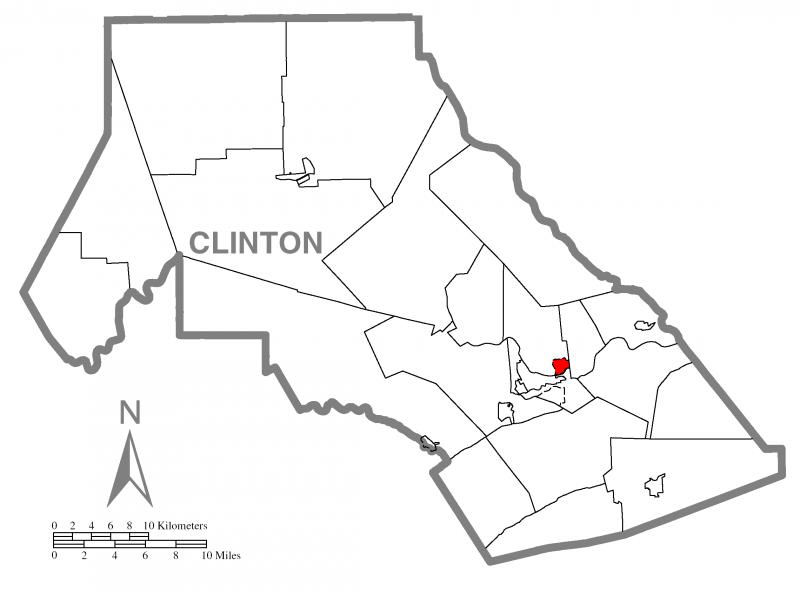 Map of Dunnstown, Clinton County, Pennsylvania Highlighted