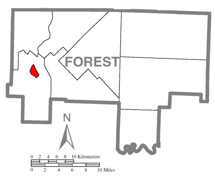 Map of Tionesta, Forest County, Pennsylvania Highlighted
