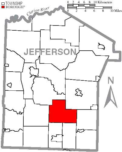 Map of Jefferson County, Pennsylvania Highlighting Mc Calmont Township