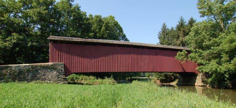 Forry's Mill Covered Bridge Wide Angle Side View 3000px