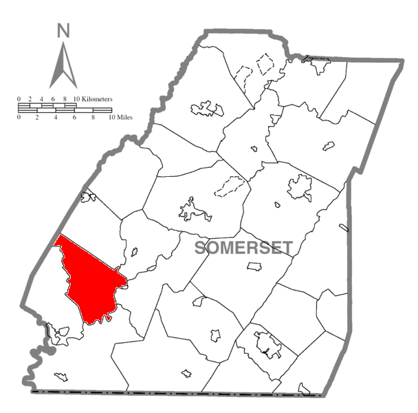 Map of Somerset County, Pennsylvania highlighting Upper Turkeyfoot Township