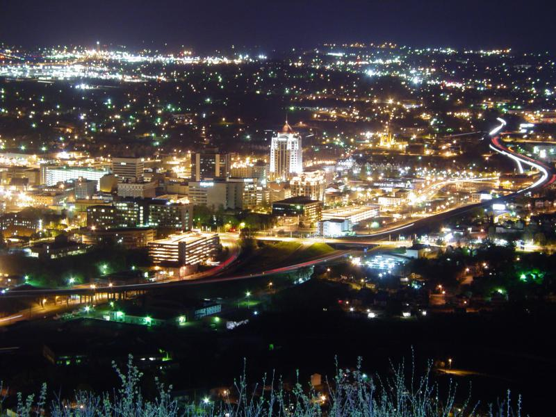 Roanoke, Virginia at night April 22